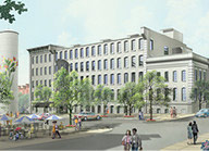 Rendering of the historic white brick Old Bull and Noell building in the American Tobacco complex.