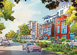 Rendering of a two-way street with cars driving past, lined with trees and landscaping, and multi-story orange and yellow apartment buildings in the back.