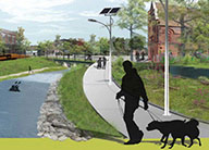 An artist's rendering of Bloody Run Creek after transformation, with an open-air creek, walking paths and solar-powered lighting.