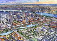 An artist's aerial rendering of the proposal for Chouteau Lake and Greenway, showing the southside of downtown at the bottom, the lake and greenway in the middle and downtown and the arch in the background.