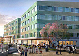 Exterior rendering of the 4220 Duncan building showing the people gathering in the outdoor courtyard.