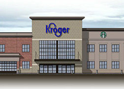 A rendering of the new Kroger Marketplace, with a glass front entrance with awning and a large Kroger sign.