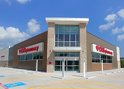 Exterior of the CVS Pharmacy at 5602 Lyons with glass front doors.