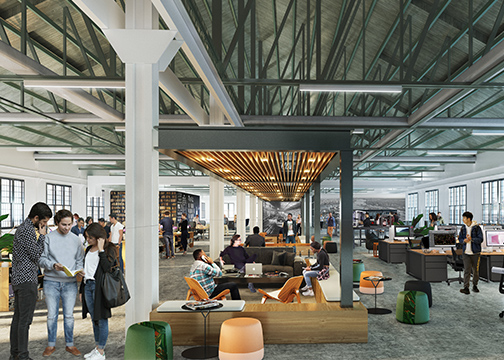 A rendering of the inside of Building 127 at the Brooklyn Naval Yard, showing open air co-working desks, couches and chairs, and lots of people working.