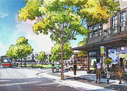 An artist's rendering of the streetscape of North 14th Street in the Near Northside Choice Neighborhood, showing a streetcar in the street, ground floor retail with apartments above and wide sidewalks full of pedestrians.