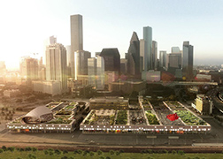 An artist's rendering of the rooftop urban farm and park above the POST Houston project, with downtown in the background.