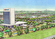 Artist depiction of a large multi-story commercial building surrounded by landscaping.