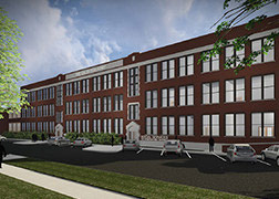 Architectural rendering of three-story brick structure and landscaped parking lot.