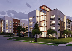 Artist rendering of a four-story apartment building at dusk with lit, glass-walled staircase as the central feature.