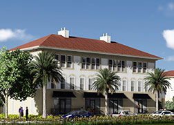 A three story white building with many windows and a shallow red roof.  There are three palm trees out front and multiple cars parked along the side.