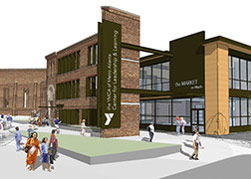 A rendering of the YMCA, showing a courtyard in the foreground with people walking around and the two story brick and glass building in the background.